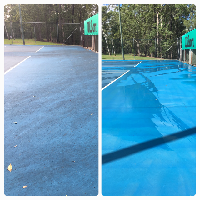 BEFORE AND AFTER TENNIS COURT