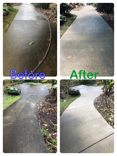 BEFORE AND AFTER Cleaning Driveways