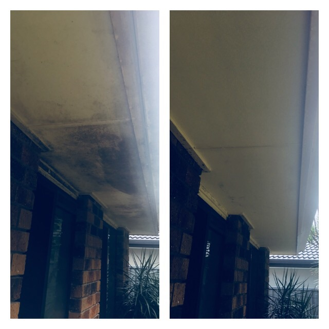 BEFORE AND AFTER AWNING PRESSURE CLEANING