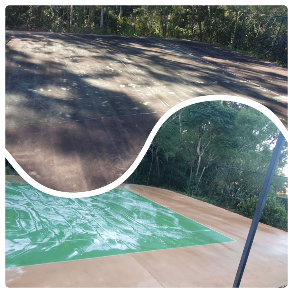 BEFORE AND AFTER TENNIS COURT PRESSURE WASHING